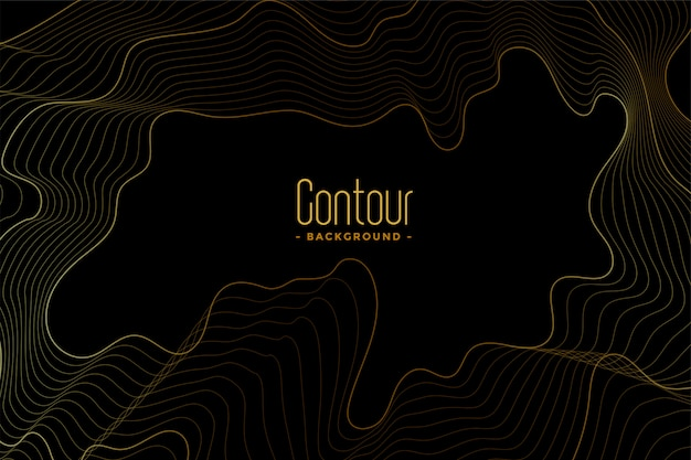 Abstract black dark background with golden contour lines