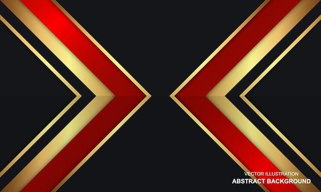 赤と金色の線でモダンなデザインの抽象的な黒のドープ背景