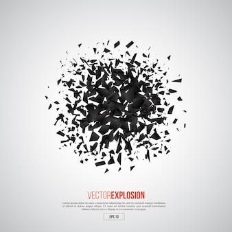 抽象的な黒い爆発。幾何学的要素