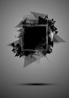 Abstract black explosion of triangles with a frame