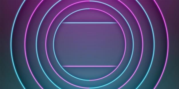 青と紫のネオンライトラインと抽象的な黒いフレームの背景の円形のオーバーラップレイ