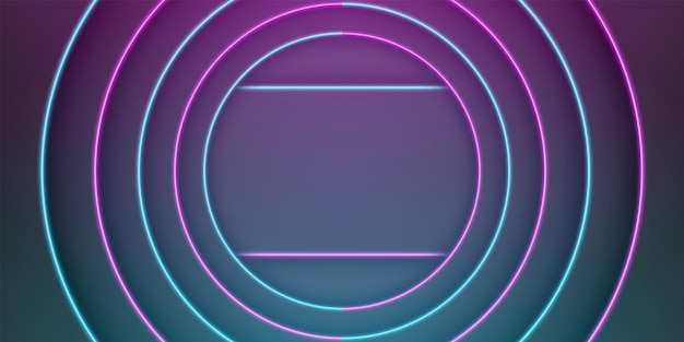 Abstract black frame background circular overlap laye with blue and purple neon light line