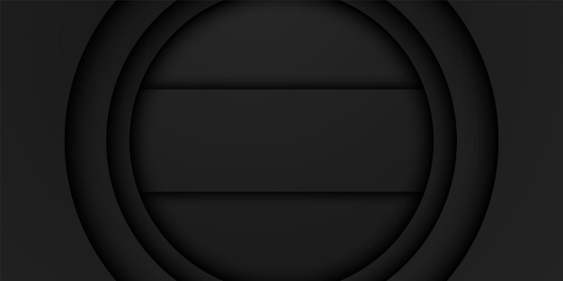 Abstract black frame background circular overlap layer with rectangle inside dark minimal design