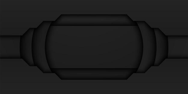 暗い最小限のデザインの内側に長方形の抽象的な黒いフレームの背景の円形のオーバーラップレイヤー
