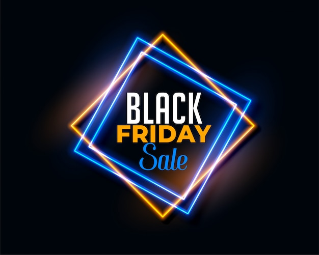 Abstract black friday background in neon light effect