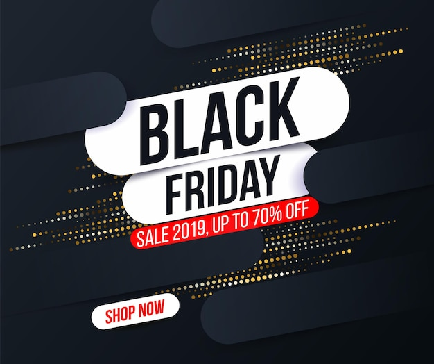 Abstract black friday banner with gold halftone glitter effect for sales and discounts