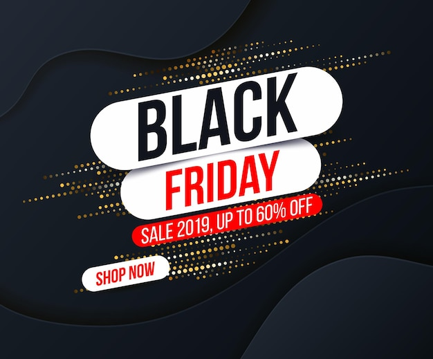 Abstract black friday banner with gold halftone glitter effect for special offers, sales and discounts.