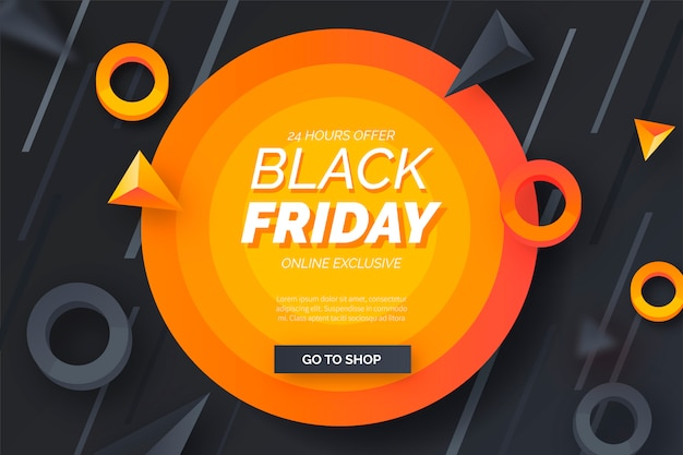 Abstract black friday banner with modern shapes