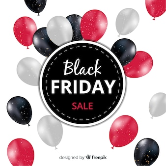 Abstract black friday sale background with balloons
