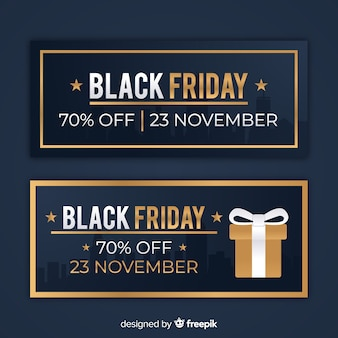 Abstract black friday sale banner set in black and gold