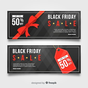 Abstract black friday sale banner set in black and red