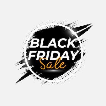 Abstract black friday sale poster with brush splash vector template