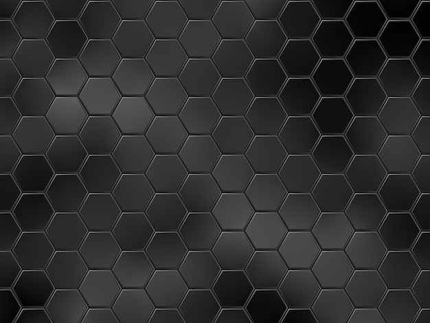 Abstract black geometric background with hexagons.  illustration