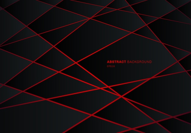 Abstract black geometric polygon red laser background.