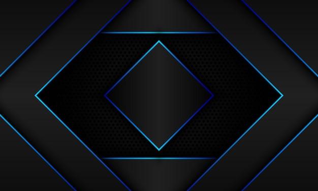 ハーフトーンの背景に青い線と影の抽象的な黒いジオメトリ