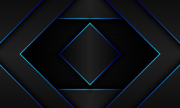 Abstract black geometry with blue line and shadows on halftone background