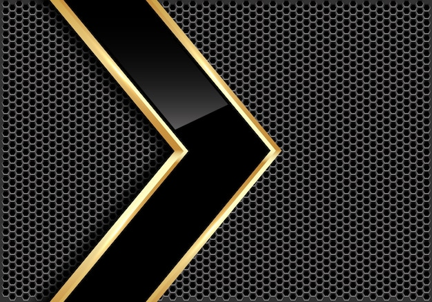 Abstract black glossy gold line arrow on gray circle mesh background.