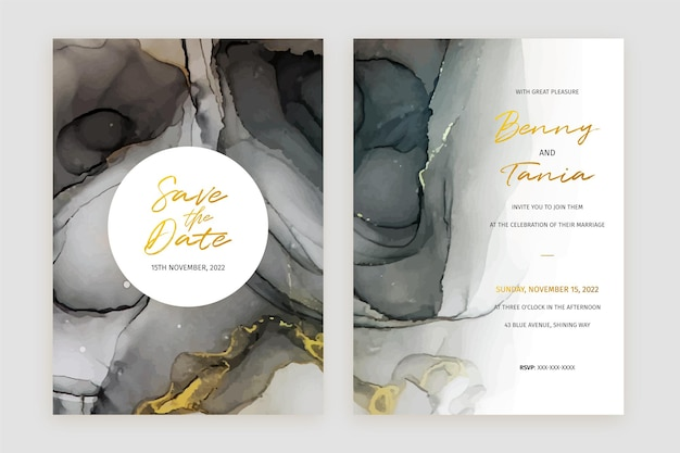 Abstract black and gold alcohol ink wedding invitation