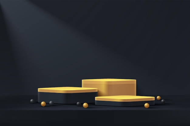 抽象的なブラックゴールドキューブ台座表彰台ブラック空の部屋ブラックとゴールドの球体がレンダリング3d形状を飾ります