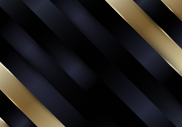 Abstract black and gold diagonal stripes background and texture luxury style. vector illustration