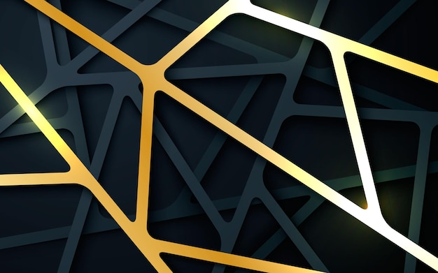 Abstract black and gold dimension line background