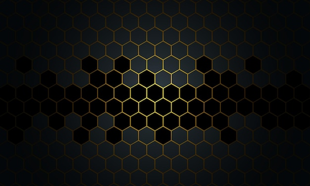 Abstract black and gold honeycomb on dark background. new style for your business design.
