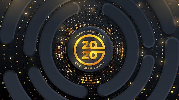 新年あけましておめでとうございます2020のグローハーフトーンパターンと抽象的なブラックゴールド高級背景