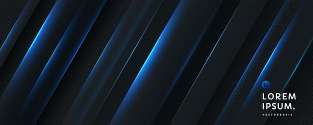 斜めに輝く青いストライプラインとダークメタルのテクスチャと抽象的な黒のグラデーションの背景