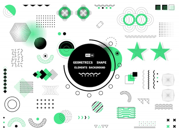 Abstract black and green design geometric memphis element background.