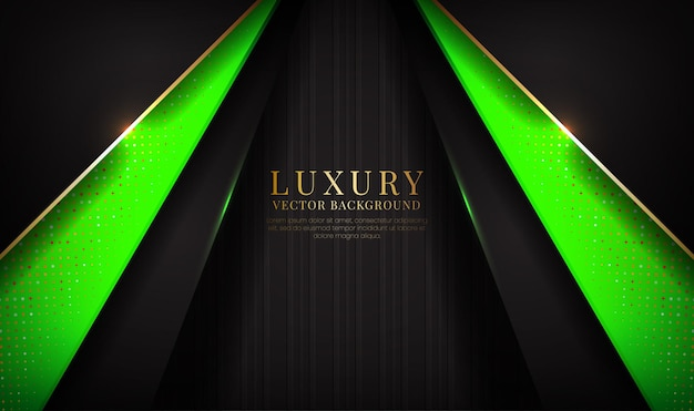 Abstract black and green luxury background overlap layer with golden metallic lines effect