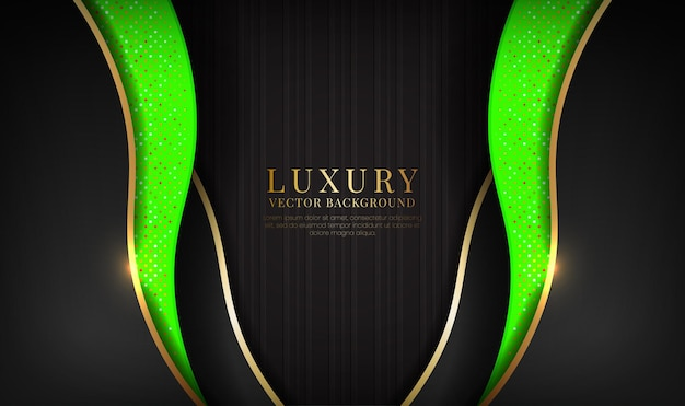Abstract black and green luxury background overlap layer with golden metallic waves effect