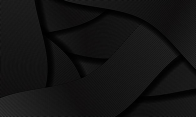 抽象的な黒灰色のリボンラインオーバーラップパターン高級デザイン創造的な背景テクスチャベクトル