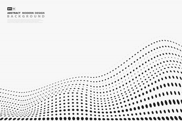 Abstract black halftone dots pattern cover on white background