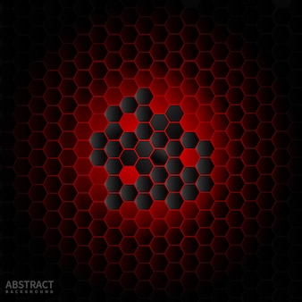 Abstract black hexagon modern on red neon background.