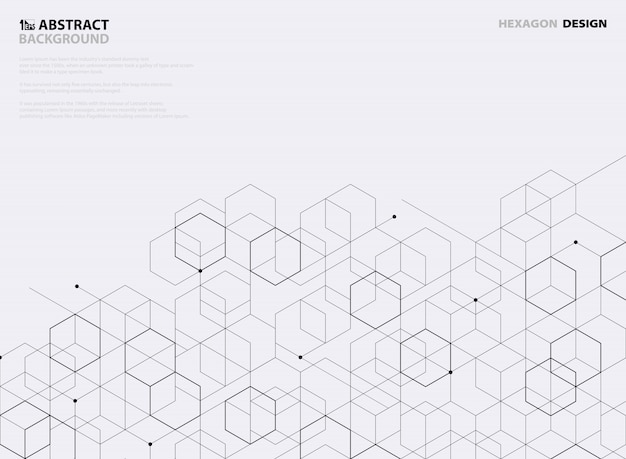 Abstract black hexagon pattern design on white background.
