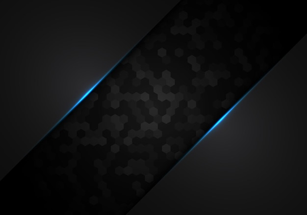 Abstract black hexagon pattern metallic with blue light frame layout design technology concept. vector illustration