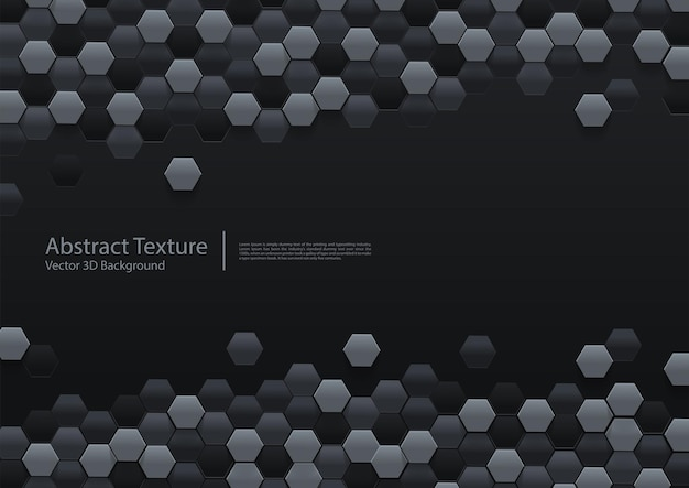 Abstract black hexagonal background 3d