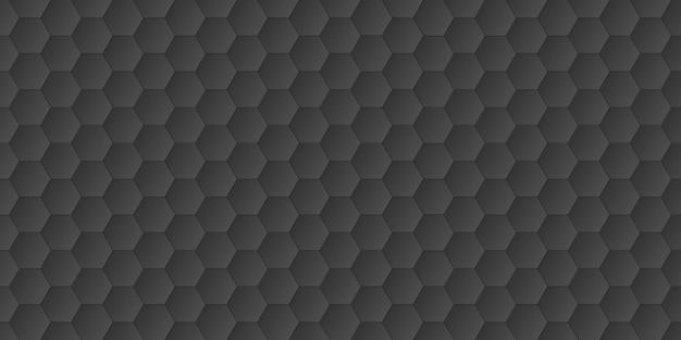 抽象的な黒い六角形の背景、六角形の形、ベクトル図