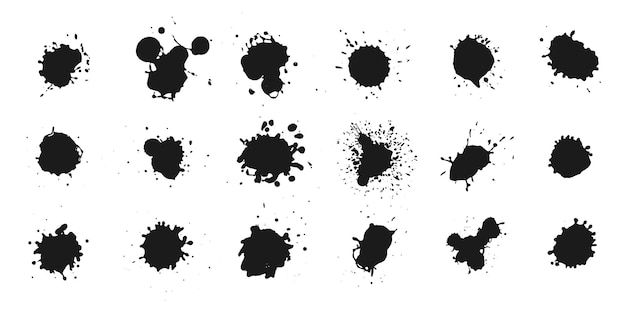 Abstract black ink splashes collection