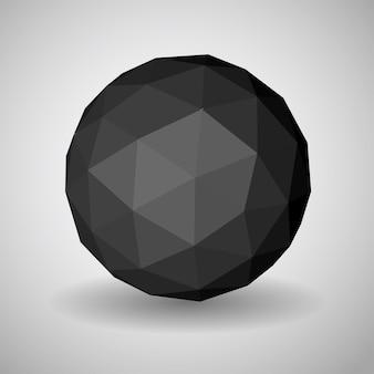 影付きの三角形の面で作られた抽象的な黒い低多角形の球