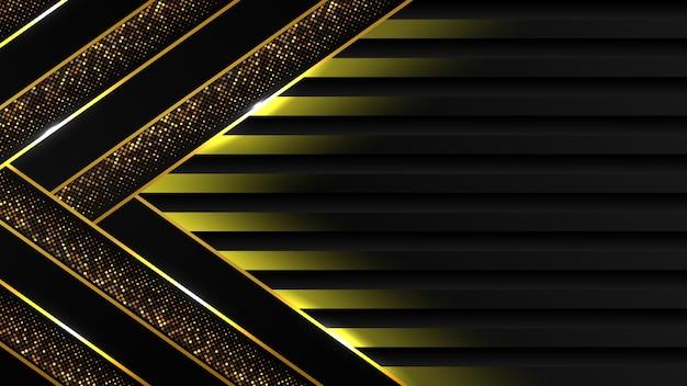 Абстрактный черный роскошный фон из темного золота линии и блеска