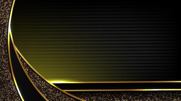 Абстрактный черный роскошный фон современной темной золотой кривой линии и золотой блеск