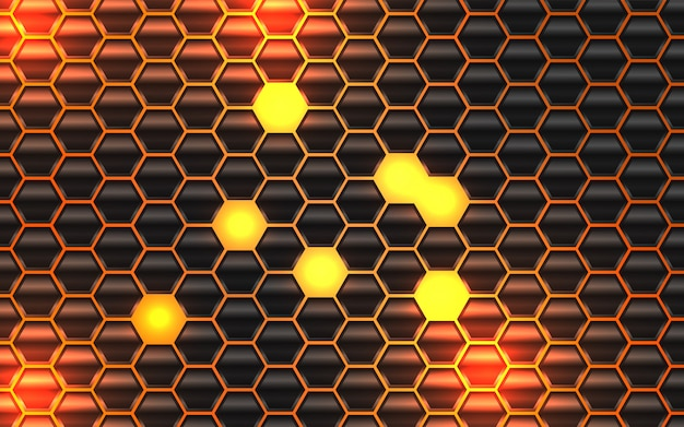 Abstract black metal hexagon shapes background