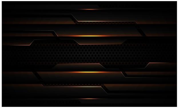다크 서클 메쉬 현대 미래 기술 배경에 추상 검은 금속 금 빛 사이버 그림자