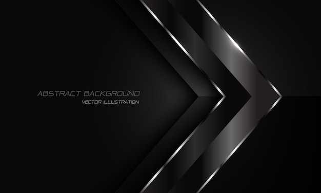 Abstract black metallic silver line arrow direction on dark with blank space  design modern futuristic background.