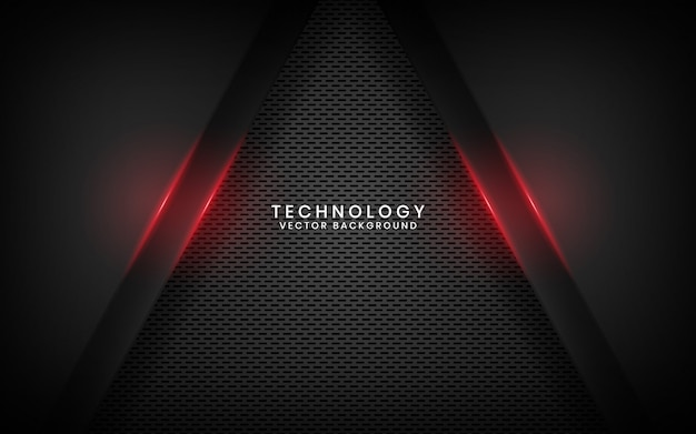 Abstract black metallic technology background with red light effect on dark space