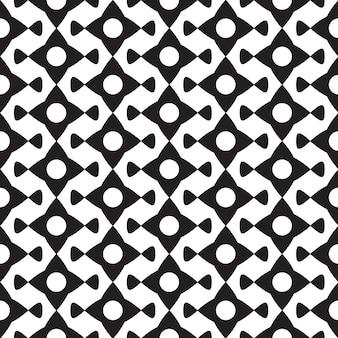 白いイラストの幾何学的な繰り返し形状と抽象的な黒のミニマルなシームレスパターン