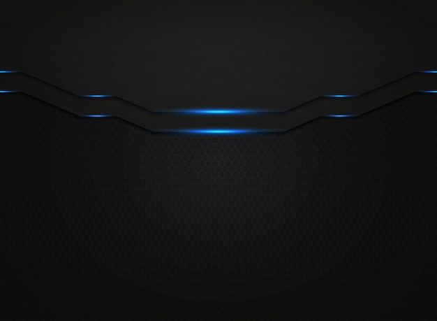 Abstract black modern technology template with blue light glitters.