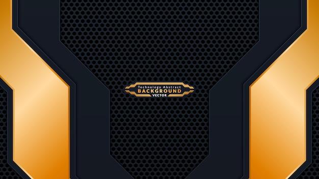 明るい金色の装飾と組み合わせた抽象的な黒の重なり合う背景。フレーム、カバー、バナー、企業、カードを使用するための豪華でモダンな紙カバーの背景