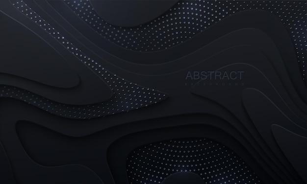 波状のレイヤーとシルバーのキラキラと抽象的な黒いペーパーカットの背景